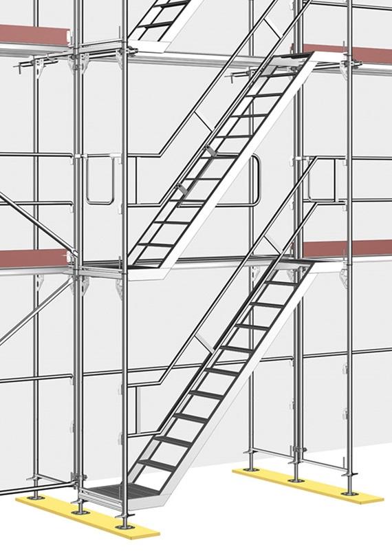 Andamio de marco blitz layher el sistema de andamios for Escaleras de trabajo